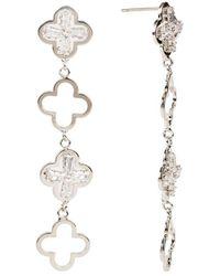 Saachi Clover Drop Earrings - Metallic