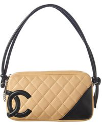 Chanel - Beige Quilted Lambskin Leather Cambon Pochette - Lyst