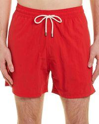 Solid & Striped Swim Trunk - Red