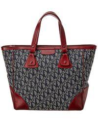 Dior Navy Trotter Canvas Handbag - Red