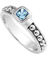 Lagos Signature Caviar Silver Swiss Blue Topaz Ring