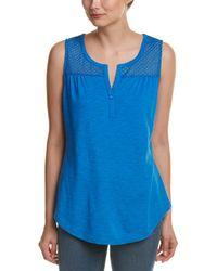 NYDJ Sleeveless Knit Eyelet Tank - Blue