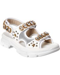 f5b8ae2e1ef Gucci Lika Embroidered Leather Sandal in Black - Lyst