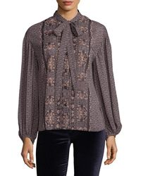 Plenty by Tracy Reese Floral Tie Neck Shirt - Gray