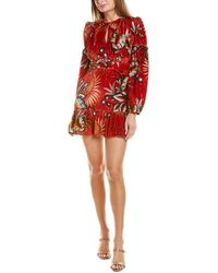 FARM Rio Winter Leaf Velvet Silk-blend Mini Dress - Red