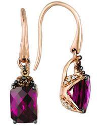 Le Vian ? Chocolatier? 14k Strawberry Gold? 2.40 Ct. Tw. Diamond & Rhodolite Earrings - Multicolour
