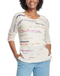 NIC+ZOE Sunset Stripe Linen-blend Sweater - Brown