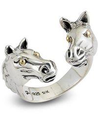 Samuel B. 18k Over Silver Double Horse Head Ring - Metallic