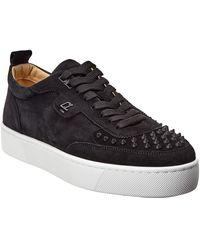 Christian Louboutin Happyrui Spikes Suede Sneaker - Black
