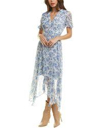 The Kooples Puff-sleeve Flowers Muslin Midi Dress - Blue