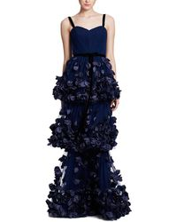 Marchesa notte 3d Floral Tiered Gown - Blue