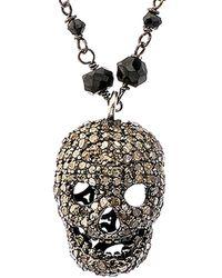 Bavna Silver 1.50 Ct. Tw. Diamond & Black Spinel Necklace - Metallic