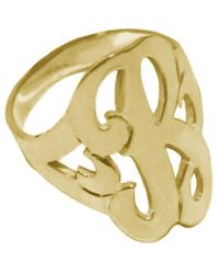 Jane Basch 22k Over Silver Single Initial Ring (a-z) - Metallic