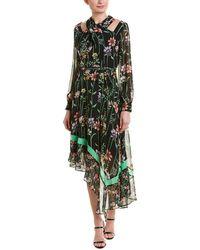 BCBGMAXAZRIA Asymmetrical Midi Dress - Green