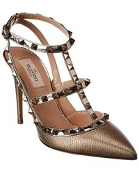 Valentino Rockstud Caged 100 Metallic Leather Ankle Strap Pump