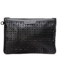 Jimmy Choo Derek Star-embellished Leather Document Holder - Black