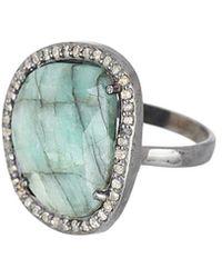 Adornia - Fine Jewellery Rhodium Plated Silver 6.50 Ct. Tw. Diamond & Emerald Ring - Lyst