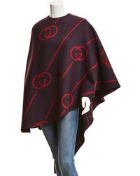 Gucci Interlocking G Wool-blend Cape - Red