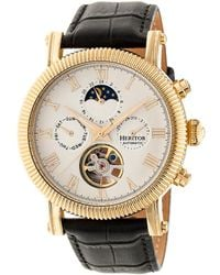 Heritor Winston Automatic White Dial Leather Watch - Metallic