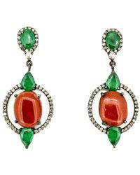 Arthur Marder Fine Jewelry Silver 4.00 Ct. Tw. Diamond & Gemstone Earrings - Green