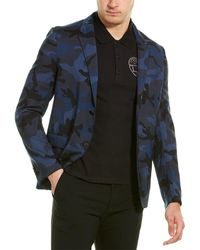 Valentino Camo Wool Blazer - Blue
