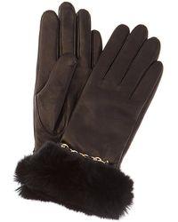 Bruno Magli Cashmere-lined Leather Gloves - Black