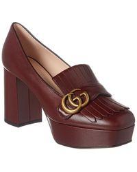 Gucci Plateau Court Shoes Leather Bordeaux - Red