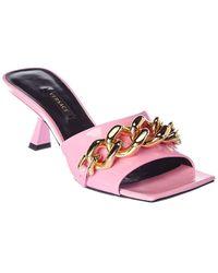 Versace Medusa Chain Patent Sandal - Pink
