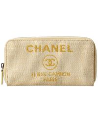 Chanel Yellow Straw Deauville Long Wallet - Multicolour