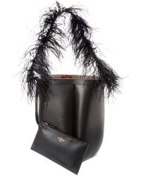 Valentino Hobo Feather Leather Tote - Black