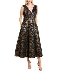Kay Unger Printed Midi Dress - Blue
