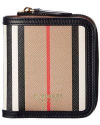 Burberry Icon Stripe E-canvas & Leather Card Case - Multicolour