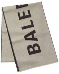 Balenciaga Jacquard Logo Wool Scarf - White
