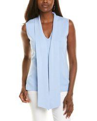 Donna Karan Tie-neck Shell - Blue