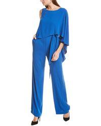 Halston Flowy Draped Jumpsuit - Blue