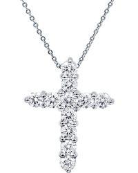 Diana M. Jewels . Fine Jewelry 18k 1.00 Ct. Tw. Diamond Cross Necklace - Metallic