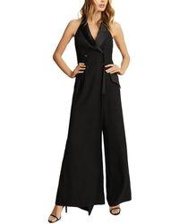 Reiss Annie Tux Split Leg Jumpsuit - Black