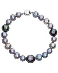 Belpearl Silver 11-7mm Tahitian & Freshwater Pearl Bracelet - Blue