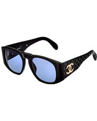 f1407209b837 Chanel Black 60mm Quilted Sunglasses Black Chanel t
