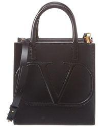 Valentino Garavani Vlogo Leather Tote - Black