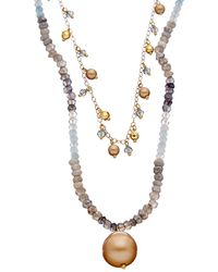 Chan Luu 18k Over Silver Gemstone & 4-12mm Pearl Double Layer Short Necklace - Metallic