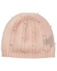 Forte Pearl Studded Cashmere Beanie - Natural