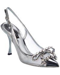 Dolce & Gabbana 90mm Lori Leather & Mesh Court Shoes - Metallic