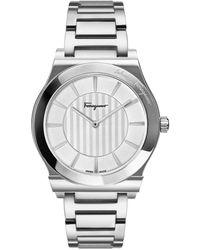 Ferragamo Men's 41mm Guilloche Watch W/ Bracelet Strap Steel - Metallic