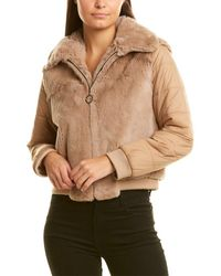 Adrienne Landau Quilted Bomber Jacket - Natural