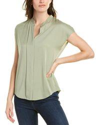 Vince Cap Sleeve Silk-blend Popover - Green