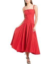 Proenza Schouler Pleated Sleeveless Maxi Dress - Red