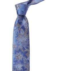 Canali Blue Floral Silk Tie - Red