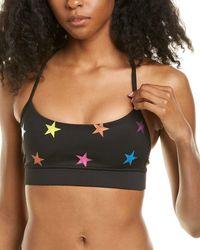 Chrldr All-over Neon Stars Spaghetti Sports Bra - Black