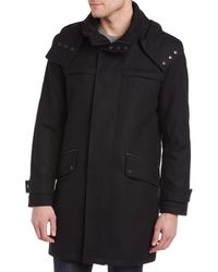 Cole Haan Melton Wool-blend Leather-trim Coat